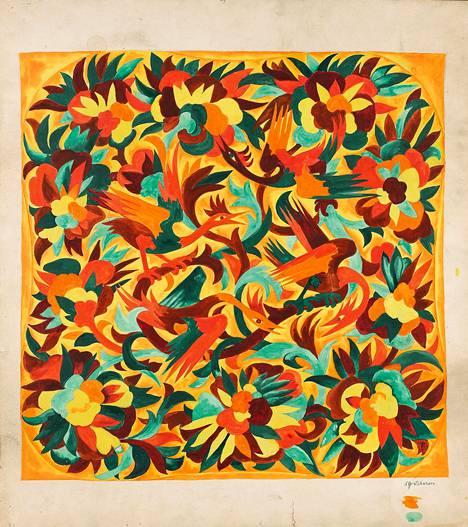 Natalia Gontšarova: Lintuja ja kukkia, luonnos painokankaaksi (1925–1928).