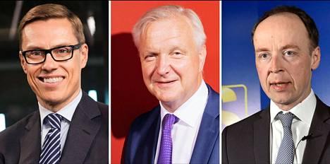 Alexander Stubb, Olli Rehn ja Jussi Halla-aho.