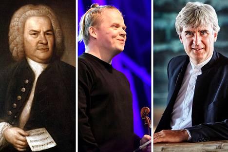 Johann Sebastian Bachin Brandenburgilaiset konsertot on tuotu nykyaikaan Thomas Dausgaardin (oik.) johtamina. Pekka Kuusisto soittaa solistina Anders Hillborgin Bach Materia -teoksessa.