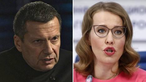 Toimittaja Vladimir Solovjov ja Venäjän presidentinvaalien oppositioehdokas Ksenija Sobtšak.