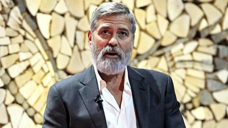 George Clooneuy puhui torstaina Nordic Business Forumissa Helsingin Messukeskuksessa.