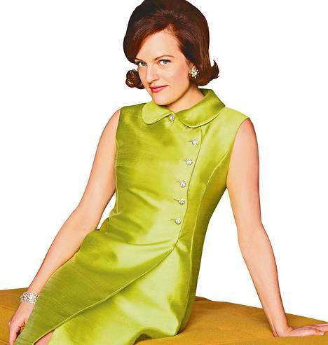 """Mad Men -sarjassa käytetyt vaatteet ovat pääosin autenttisia 1960-luvun luomuksia. Elisabeth Moss kehuu aikakauden muotia """"uskomattoman seksikkääksi""""."""