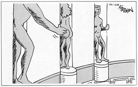 """""""Tammikuussa 2008 paljastui, että eduskunnassa oli tapahtunut seksuaalista häirintää. Eduskunta oli hyssytellyt tasa-arvosuunnitelman, jossa asiasta kerrottiin""""; Karlsson kertoo. Piirros ilmestyi Helsingin Sanomissa 27.1.2008."""