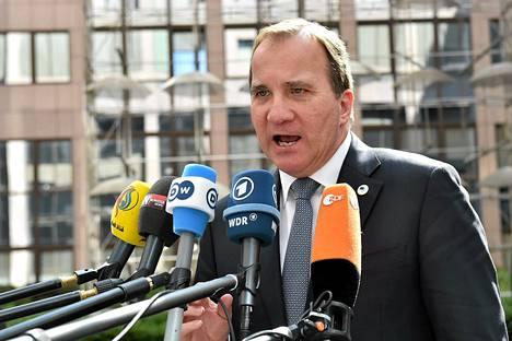 Ruotsin pääministeri Stefan Löfven puhui Euroopan neuvoston kokouksen alussa Brysselissä huhtikuun lopulla.