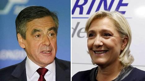François Fillon (vas.) ja Marine Le Pen