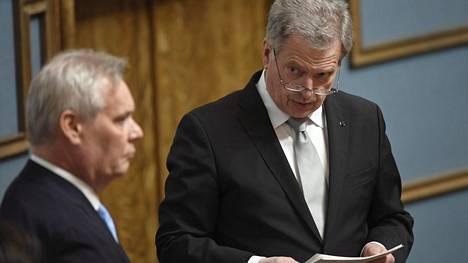 Puhemies Antti Rinne (vas.) ja tasavallan presidentti Sauli Niinistö valtiopäivien avajaisissa eduskunnassa torstaina.