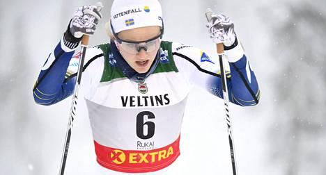 Stina Nilsson kilpaili vuosi sitten hiihdon maailmancupissa Rukalla.