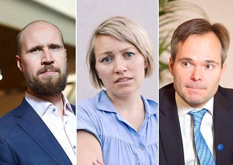 Vihreiden puheenjohtaja Touko Aalto, eduskuntaryhmän lainsäädäntösihteeri Aino Pennanen ja sisäministeri Kai Mykkänen.