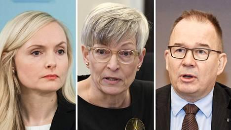 Sisäasianministeri Maria Ohisalo (vas.), yhdenvertaisuusvaltuutettu Kirsi Pimiä ja Suojelupoliisin päällikkö Antti Pelttari