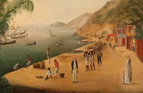 Gustavian sataman kautta on arvioitu kulkeneen Ruotsin siirtomaa-aikana lähes 90 orjalaivaa, jotka kuljettivat yli 7000:ta orjaa. J W Laurinin teos vuodelta 1874.