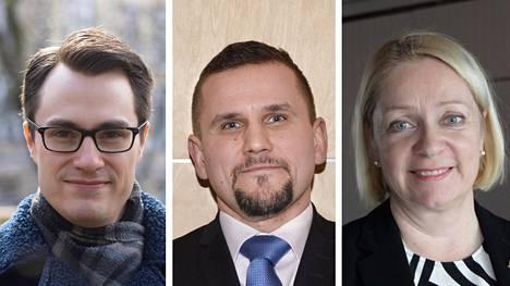 Hypon pääekonomisti Juhana Brotherus (vas.), Vuokraturvan toimitusjohtaja Timo Metsola ja Suomen Pankin johtokunnan varapuheenjohtaja Marja Nykänen.