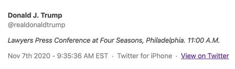 Donald Trump kutsui twiitillään toimittajia tiedotustilaisuuteen Philadelphian Four Seasons -hotelliin. Tämän twiitin hän poisti ja kertoi pian sen jälkeen, että tilaisuus pidetään puutarhayritys Four Seasons Total Landscapingin luona.