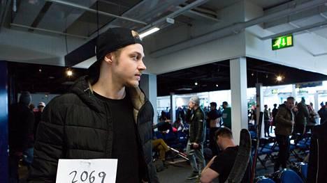 Valtteri Honka Espoon Metro Areenalla koekuvauksissa helmikuussa.
