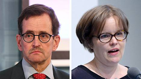 Työelämäprofessori Vesa Vihriälä ja eurooppaoikeuden professori Päivi Leino-Sandberg.