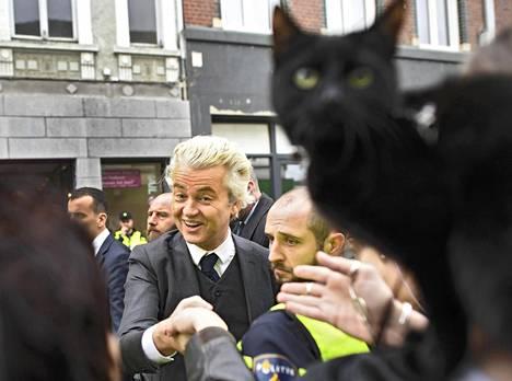 Musta kissa on yleisössä, kun hollantilainen äärioikeistolaisen PVV-puolueen johtaja Geert Wilders kampanjoi Heerlanissa lauantaina.