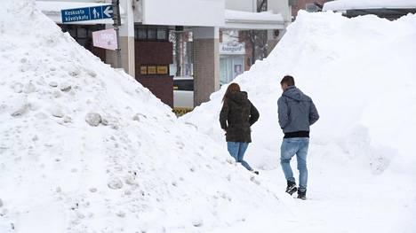 Lumikasoja Keravalla helmikuun alussa.
