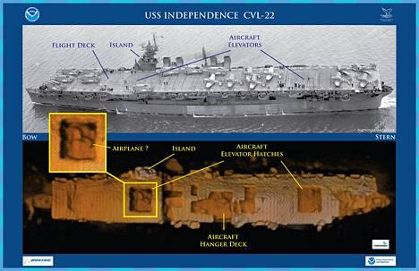 Merenpohjassa makaava USS Independence -lentotukialus.