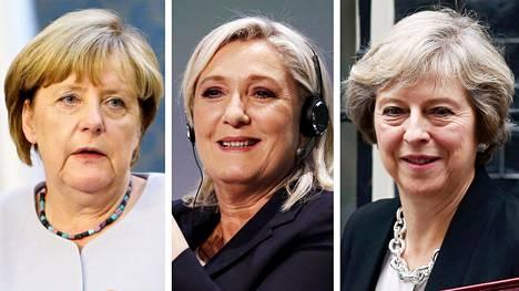 Angela Merkel, Marine Le Pen ja Theresa May