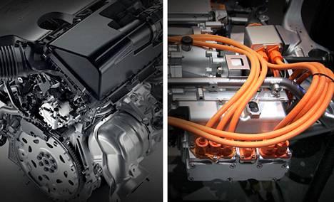 Nissanin VC-T -moottori (vas.) ja Artega Scalo-sähkömoottori.