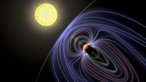 Taiteilijan piirroksessa siniset viivat kuvaavat magneettikenttää, joka ympäröi isoa eksoplaneettaa.