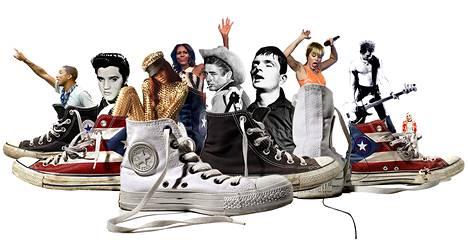 Pharrell Williams, Elvis Presley, Rihanna, Michelle Obama, James Dean, Ian Curtis, Miley Cyrus, Sid Vicious, Kurt Cobain ja tennarit.