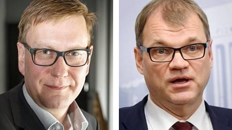 Ylen päätoimittaja Atte Jääskeläinen ja pääministeri Juha Sipilä.