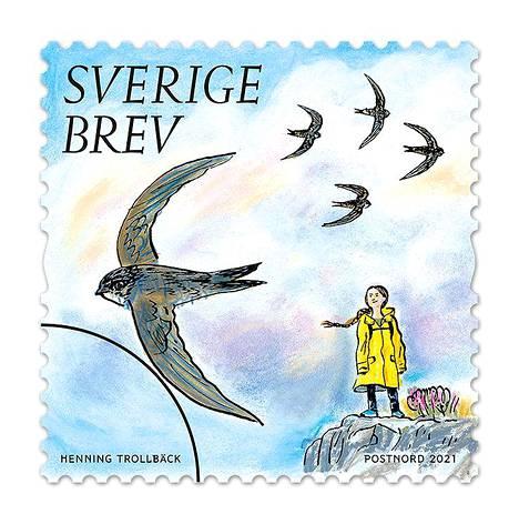 Postimerkin kuvan on piirtänyt kuvittaja Henning Trollbäck.