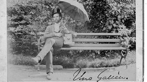 Uno Gallén pukeutui hyvin ja jopa keikarimaisesti. Kirjan kuvitusta.