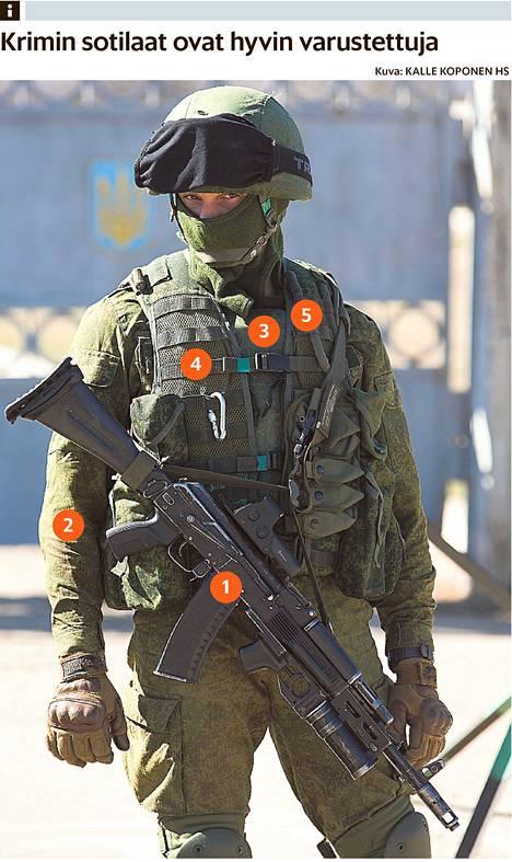 """Tunnukseton sotilas painosti Simferopolin kaakkoispuolella ukrainalaisvaruskuntaa maaliskuun alussa. """"Kyse on Venäjän erikoistoimintajoukkojen sotilaasta"""", arvioi asiantuntija Arto Pulkki."""