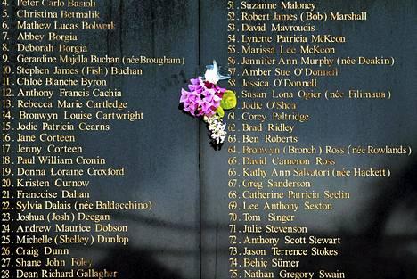 Balin pommi-iskuissa kuolleiden muistotaulu Kutassa.Yökerhoiskussa kuoli 200 ihmistä lokakuussa 2002.