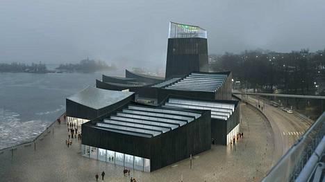 Havainnekuva Guggenheim-arkkitehtuurikilpailun voittaneesta ranskalaisesta Art in the City -ehdotuksesta.