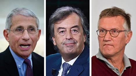 Anthony Fauci (vas.), Roberto Burioni ja Anders Tegnell.