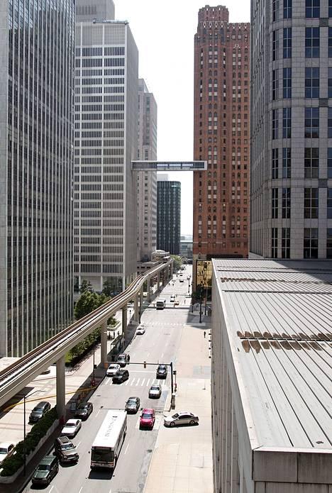 Detroitin keskusta oli hiljainen perjantaina päivä konkurssin jälkeen.