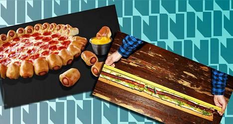 Hot dog -pitsaa ja metrimakkaraa.