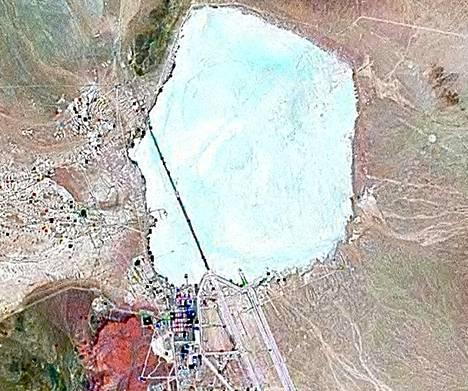NASA:n ilmakuva Alue 51:stä, joka on Yhdysvaltain hallituksen omistama alue Nevadan osavaltiossa lähellä Las Vergasia.