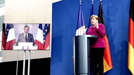 Ranskan presidentti Emmanuel Macron ja Saksan liittokansleri Angela Merkel järjestivät yhteisen videokonferenssin ja -lehdistötilaisuuden maanantaina.