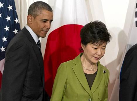Yhdysvaltain presidentti Barack Obama ja Etelä-Korean presidentti Park Geun-hye.