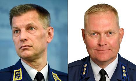 Ilmavoimien komentaja, kenraalimajuri Sampo Eskelinen ja eversti Markus Päiviö.