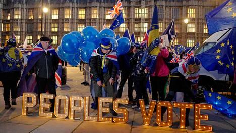 Britannian EU-eroa vastustavat mielenosoittajat vaativat uutta EU-kansanäänestystä parlamenttitalon edustalla Lontoossa maanantaina.