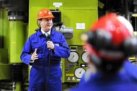 David Cameron piti puheen Hinkey B- ydinvoimalan työntekijöille maanantaina.