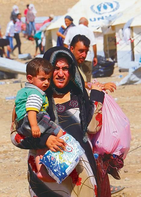 Syyrian väkivaltaa paenneita pakolaisia saapui Arbiliin Pohjois-Irakiin toissa viikolla.