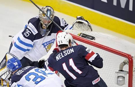 Pekka Rinne teki virheen USA-ottelussa.