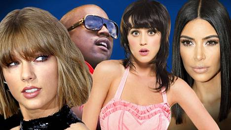 Taylor Swift, Kanye West, Katy Perry ja Kim Kardashian viihdyttävät ihmisiä sotimalla keskenään.