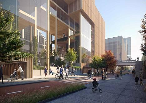 """Yksi Urbaana-suunnitelman uudisrakennuksista on Tennispalatsin kohdalle sijoittuva """"Kulttuuripalatsi"""". Tennispalatsi näkyy havainnekuvassa uudisrakennuksen takana."""
