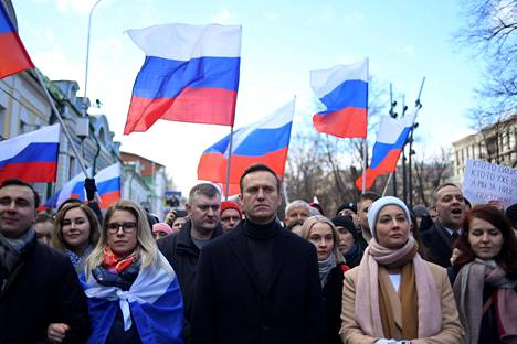 Aleksei Navalnyi mielenosoituksessa Moskovassa viime vuoden helmikuussa.