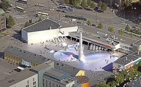 Amos Anderson -taidemuseon Lasipalatsinaukion päällä sijaitsevat kummut tuovat näyttelytilaan avaruutta ja valoa.
