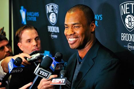 Jason Collions puhui toimittajille ennen Brooklyn Netsin ja Milwaukee Bucksin välistä ottelua keskiviikkona.