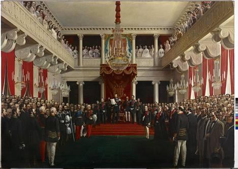Robert Ekmanin maalauksessa Keisari Aleksanteri II avaa säätyvaltiopäivät keisarillisen palatsin valtaistuinsalissa 1863 näkyy monia tuon ajan suurmiehiä.