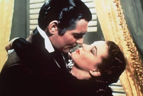 Tuulen viemää -elokuvan pääosissa näyttelevät Clark Gable ja Vivien Leigh.