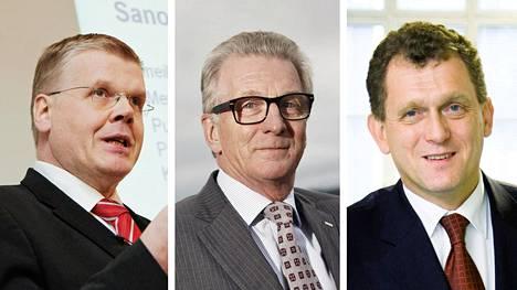 Keskon entinen pääjohtajan Matti Halmesmäki (vas), Rautaruukin entinen toimitusjohtaja Sakari Tamminen ja Nokian Renkaiden entinen toimitusjohtaja Kim Gran maksoivat ensi kertaa eläkkeestään veroa Suomeen, kun Suomi sanoi irti verosopimuksensa Portugalin kanssa.